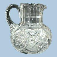 American Brilliant Period Cut Glass Handled Jug