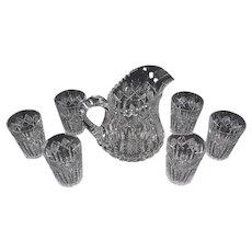 American Brilliant Period Cut Glass Signed Libbey Pitcher & 6 Glasses