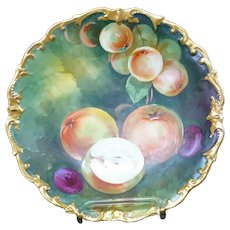 """L.R.L. Limoges France Hand Painted Peaches & Plums 12"""" Charger Artist Signed"""