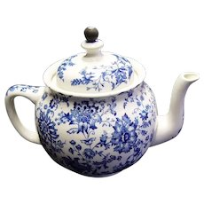 "Buffalo Pottery ""Chrysanthemum Blue"" Teapot, With Attached Metal Tea Strainer"