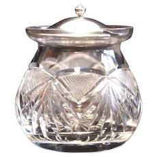 American Brilliant Period Cut Glass Jam Jar W/Sterling Lid