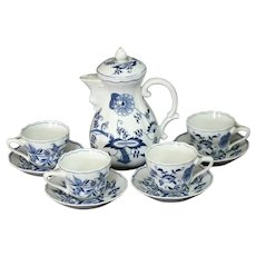 "Blue Danube 8"" Vintage Coffee Pot with 4 Cups & Saucers"