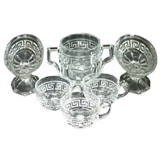 Heisey Greek Pattern Sugar, Banana Split Dishes, Punch Cups