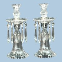 Heisey No. 1469 Signed Crystal Ridgeleigh Candelabras FREE SHIPPING