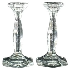 Signed Heisey Pair of Candlesticks
