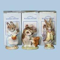 3 Royal Albert Beatrix Potter Bunykins with Boxes