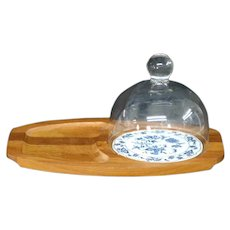 Vintage Blue Danube Teak Wood Cheese Cutting Board with Glass Dome