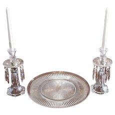 Heisey Signed Crystal Ridgeleigh Candelabras & Center Plate