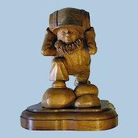 Folk Art Wood Carving Man With Keg