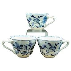 3 Vintage Blue Danube Tea Cups