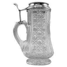 Glass tankard/Stein with Silverplate Lid