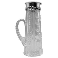 Outstanding American Brilliant Period Cut Glass & Sterling Tankard Signed Gorham