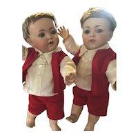German Bisque Franz Schmidt Twin Toddlers