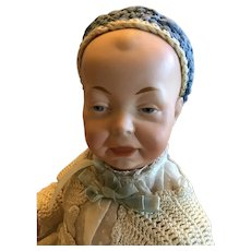 German Bisque Character Baby, Painted eyes, Marked 3 on Head,