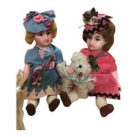 """Unis France  Mignonettes, all original pair, 6 1/2"""", with French poodle"""