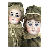 Closed mouth Pouty, German Bisque Belton Twins, All Original