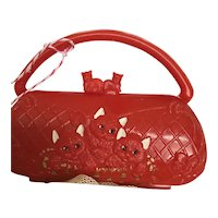 Cute Red Plastic Vintage Dolly  Purse Accessory