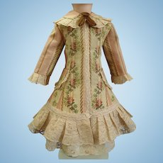 French Cotton Jacquard & Corded Chantilly Lace Doll Dress for Bru Jumeau