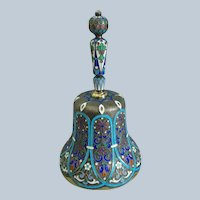 c1988-1908 Russian 88 silver gilt bell with champleve enamel hallmarked