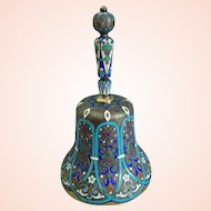 c1988-1908 Russian silver gilt bell with champleve enamel hallmarked