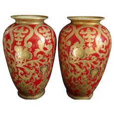 1940's Pair Large Chinese export porcelain Enameled & 24K Gold Vases, hand painted