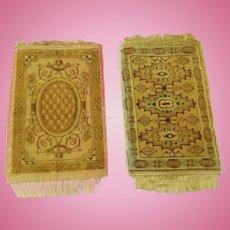 Lot of 2 STRAIGHTS Dollhouse silk velveteen printed Rugs