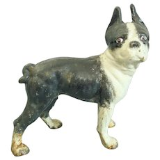 "Antique Hubley 10""tall Cast Iron Boston terrier Door Stop/Coin Bank"