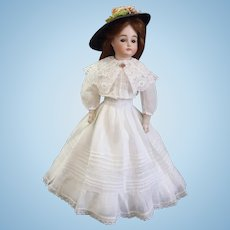 """Outstanding Antique swivel head on bisque shoulder-plate 15.5"""" Pouting Closed Mouth A.T. Kestner Fashion Doll"""
