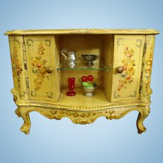 Rare French hand painted Dollhouse Wood sideboard/Doll furniture