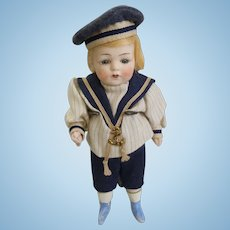"""Rare Antique German All Bisque Glass Eyes Blue boots 6"""" tall Mignonette Doll"""