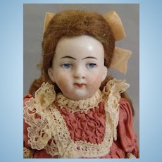 """Rare Antique German All Bisque Intaglio Eyes Blue Shoes 6"""" tall Mignonette Doll 5114"""