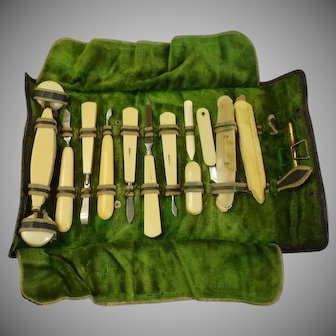 1920's Celluloid Manicure Set French Ivory - Art Deco Traveling Manicure Pouch