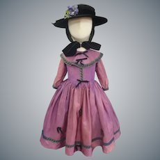 Adorable Little Girls Purple taffeta Dress & Hat