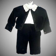 Boy's 2-piece Black cotton velvet suit c 1890's