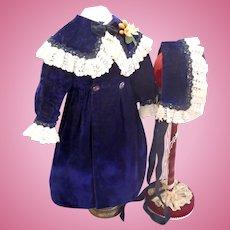 Antique French Velvet Coat & Hat Bonnet Jumeau Steiner Eden Bebe Bisque Doll