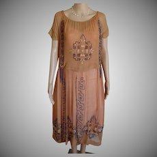Stunningly Beautiful 1920s Glass Beaded Silk Chiffon Embroidered Flapper Dress