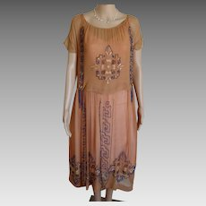 Stunningly Beautiful 1920s Glass Beaded Silk Chiffon Embroidered Flapper Dress