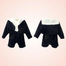 Boy's two piece black cotton velvet Suit c1900's