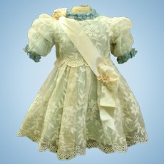 Wonderful Cotton organza Couturier BEBE Dress for your Antique bisque Doll 24""