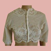 Wonderful Handmade c1890-1910 Bolero Seamless Eyelet Lawn jacket