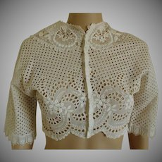 Wonderful Handmade c1890-1910 Bolero Seamless Eyelet Lawn jacket