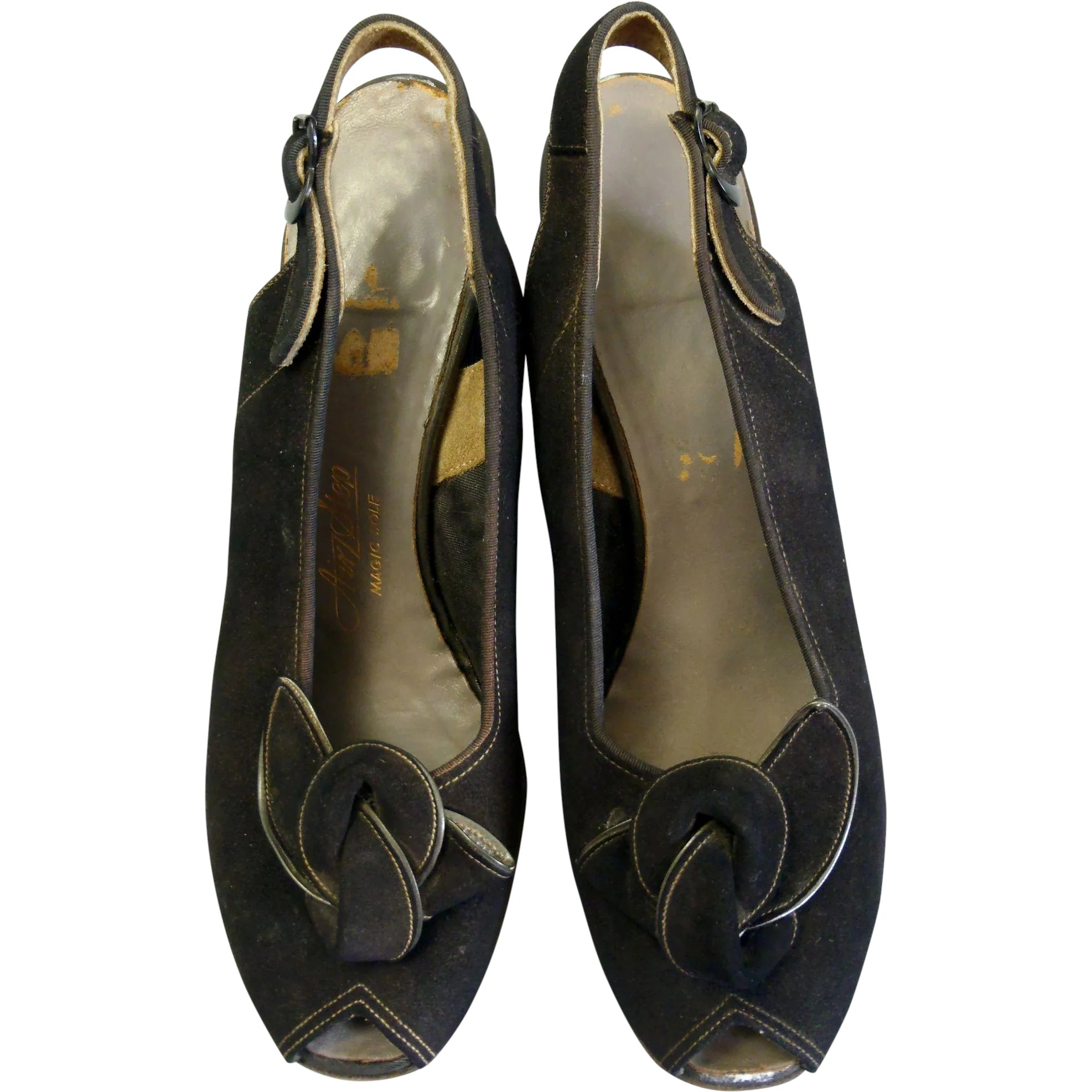 5be343f463935 Stunning Vintage 1940's Airstep Black Suede Bow Front Peep Toe Sling ...