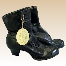 c1900's Victorian RADCLIFFE NERVEASE Black leather High button boots with original hangtag