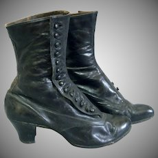 c1890's Victorian Black leather High button boots