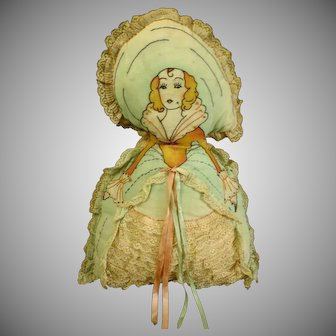 c1900's hand Embroidered silk French boudoir doll 18""