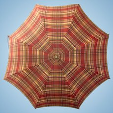 Vintage 1940s-1950s Parasol Umbrella with Cotton top and Curved Amber Lucite Handle, small size good for large doll