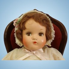 "c1937 All original 17"" Composition Madame Alexander Little Genius Googly eyes doll Tagged Dress"
