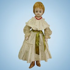 "Exquisite 28"" Antique Wax Over Paper Mache Child Doll with Paperweight Eyes c1860's"