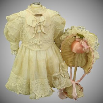 Exquisite Couture French Bebe Dress with wire Bonnet