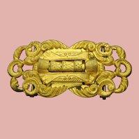 """Victorian gold plated brass belt buckle 2.75"""" x 1.25"""""""